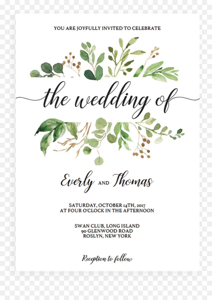 Green Leaves Watercolor Wedding Invitation Template Free Invitation Greenery Baby Shower Hd Png Download Vhv