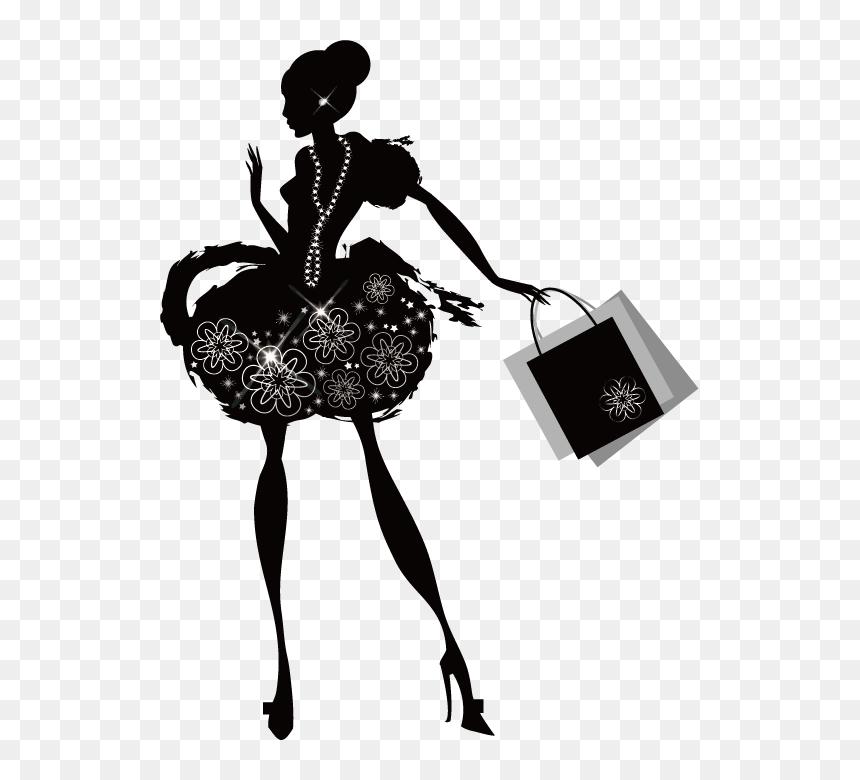 Shopping Woman Fashion Silhouette Sketch Png Download ...