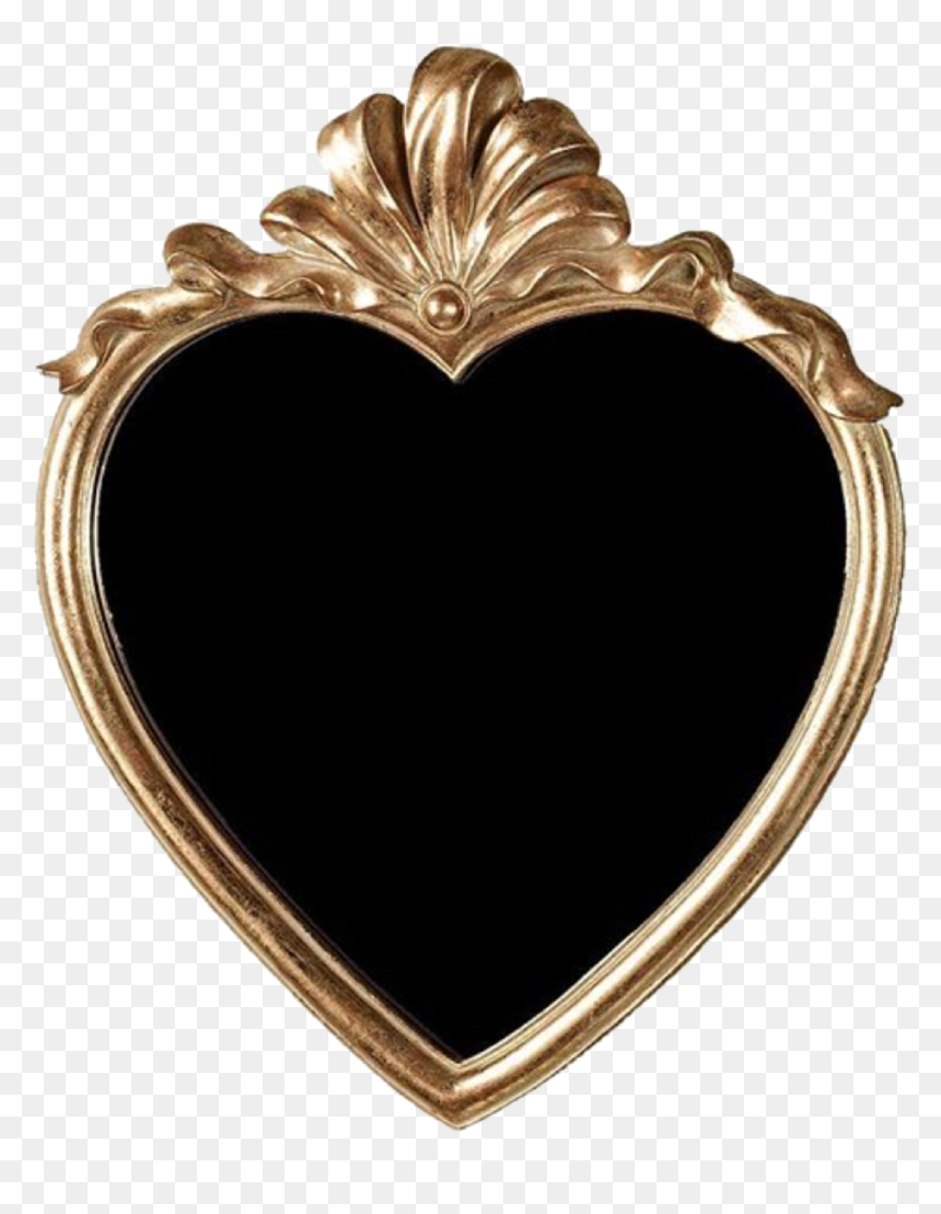 Gold Mirror Antique Old Overlay Edit Tumblr Heart Hd Png Download Vhv