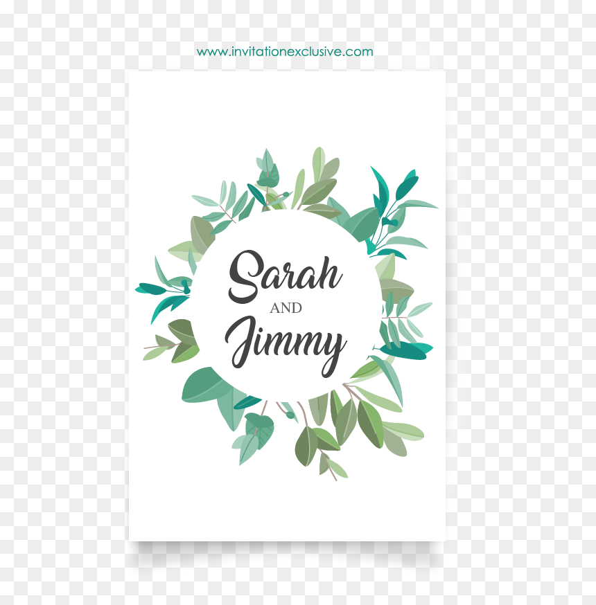 Plant Wedding Card Design Circle2 Wedding Invitation Templates Mint Green Hd Png Download Vhv