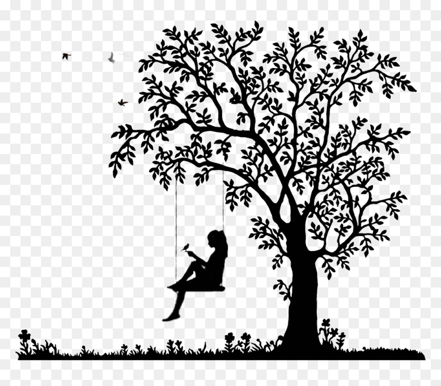 Tree Black And White Png Transparent Cartoons Bird And Tree Silhouette Png Download Vhv