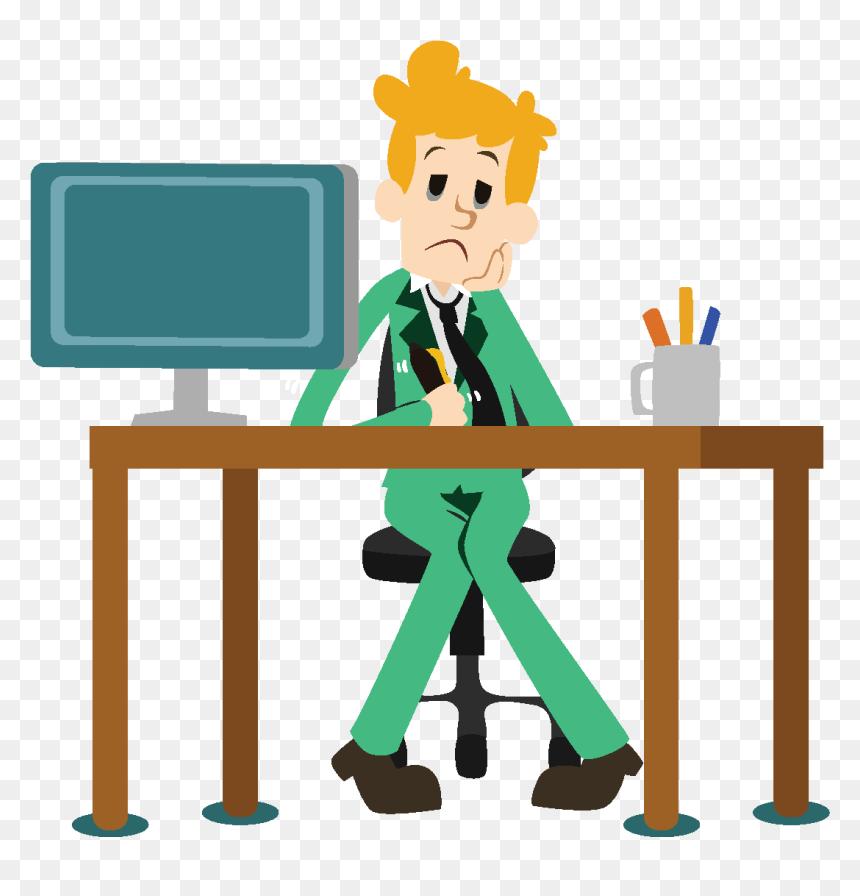 Desenhos Animados Do Escritorio Pensando Elementos Ambiente De Trabalho Toxico Hd Png Download Vhv