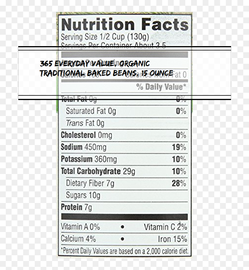 365 Everyday Value Organic Traditional Baked Beans Nutrition Facts Hd Png Download Vhv