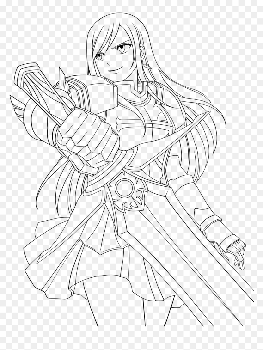 Transparent Fairy Tail Png   Erza Scarlet Coloring Pages, Png ...