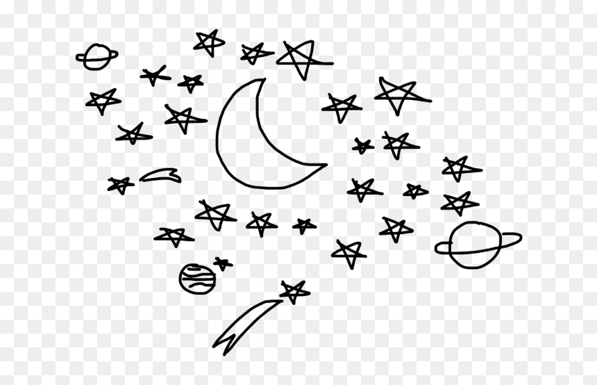 Stars Galaxy Moon Planet Star Moons Constellation Aesthetic Moon Black And White Drawing Hd Png Download Vhv