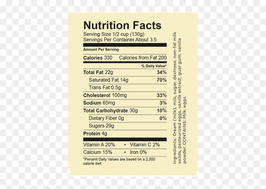 Vanilla Bean Nutrition Facts Hd Png Download Vhv