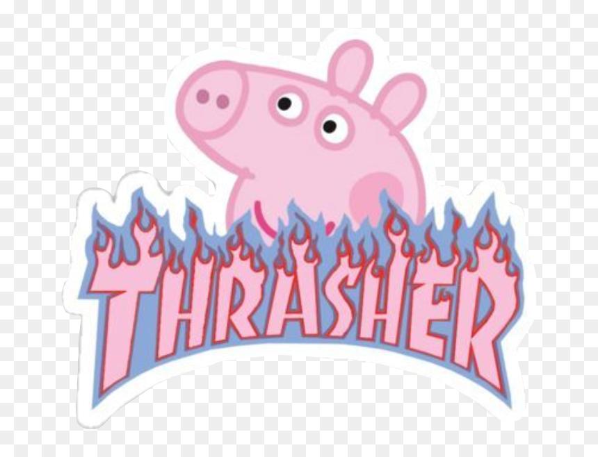 Peppa Peppapig Pink Thrasher Flame Fire Blue Peppa Pig Thrasher Logo Hd Png Download Vhv