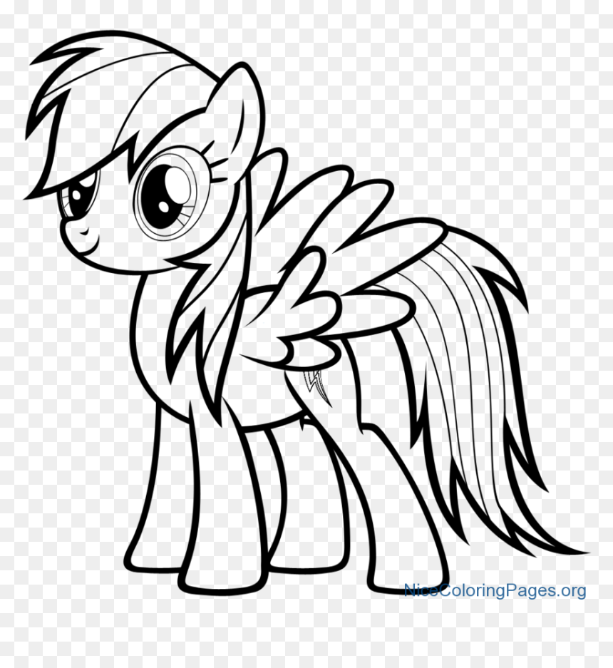 How To Draw Rainbow Dash Character For Kids Mlp Coloring Pages