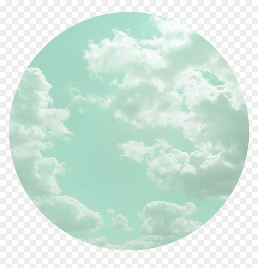 Mint Blue Green Bluegreen Clouds Aesthetic Circle Hd Png Download Vhv