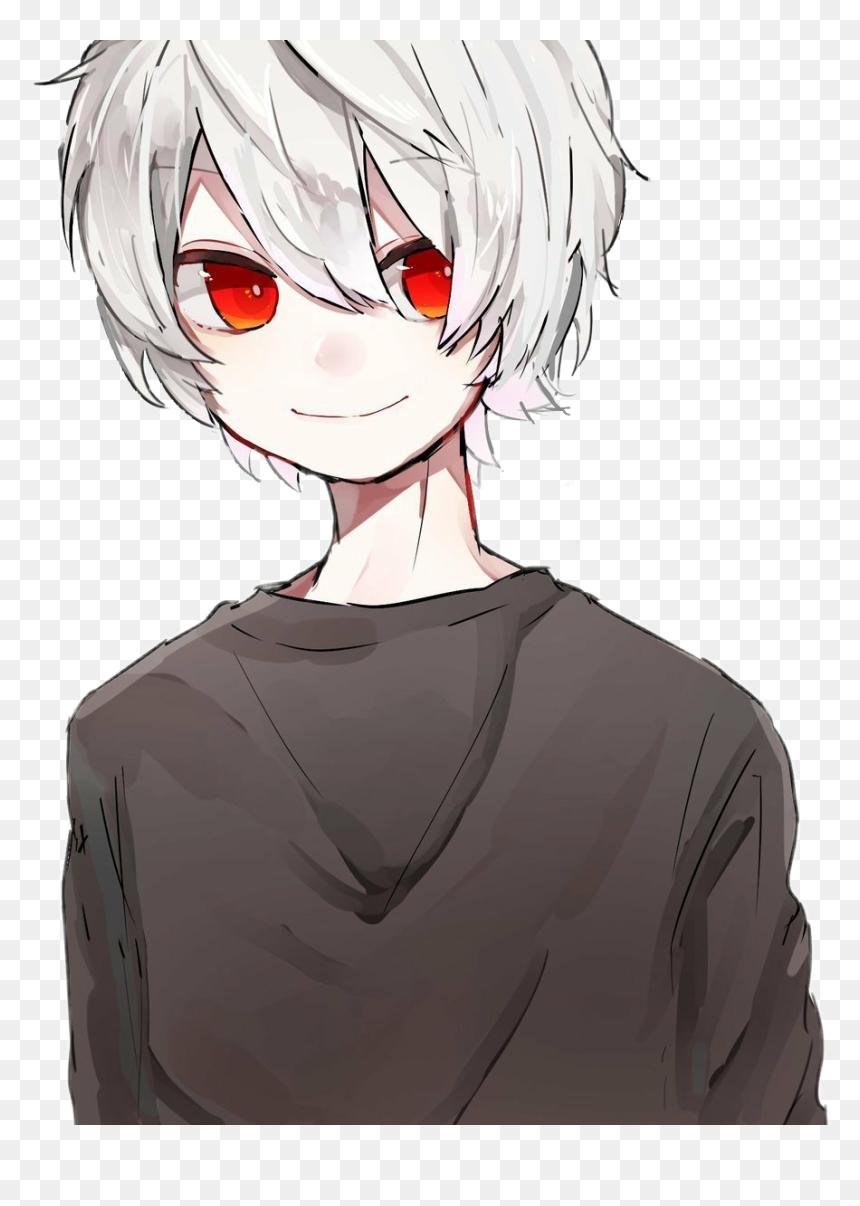 Anime Boy White Hair Red Eyes Hd Png Download Vhv