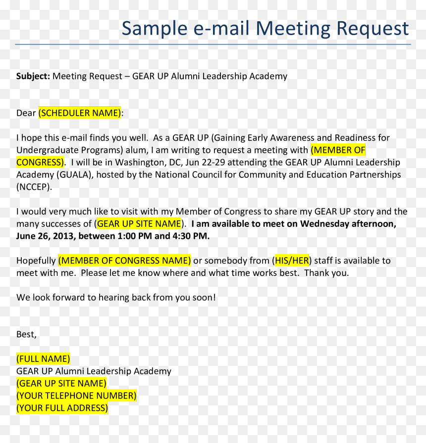 Business Meeting Request Email Format