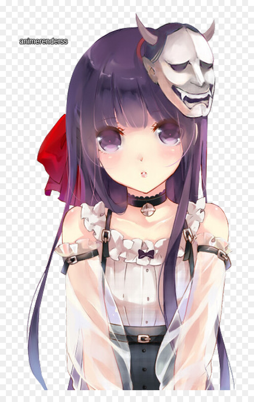anime #manga #girl #cute #kawaii #purple #hair #japanese, HD Png