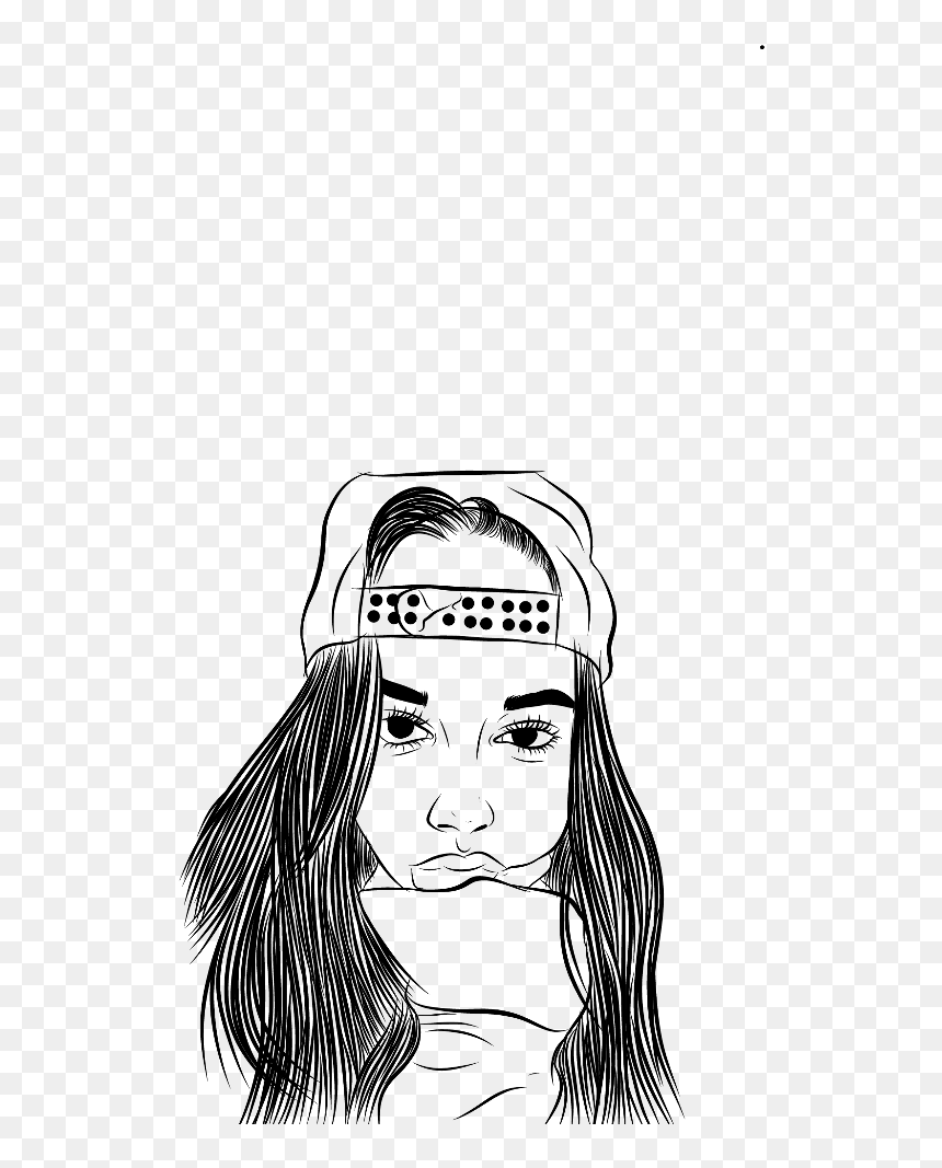 outline #tumblr #girl - Illustration, HD Png Download - vhv