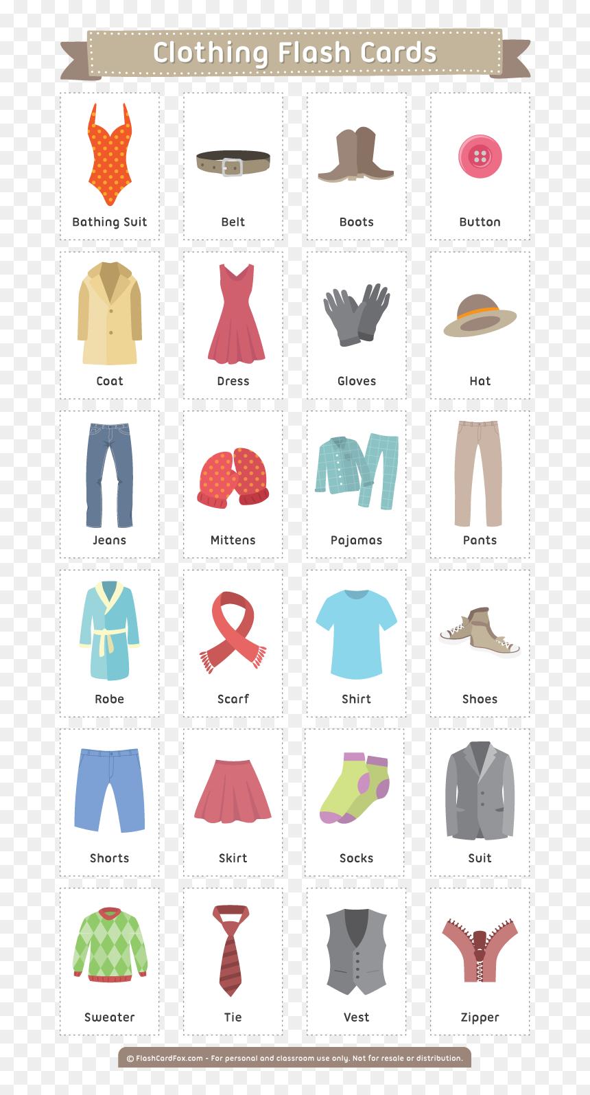 Free Printable Clothing Flash Cards - Spanish Body Parts ...