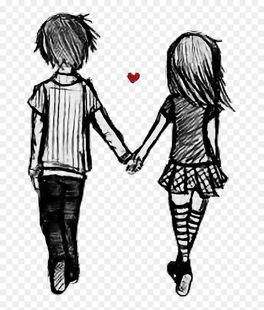 Bf Gf Together Couple Love Drawing Cute Ship Borfriend Bf And Gf Drawing Hd Png Download Vhv