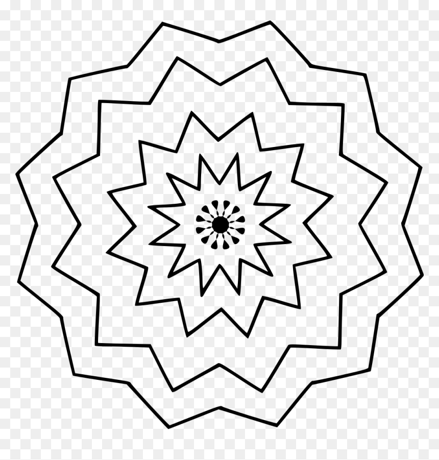 Easy Flower Mandala Coloring Pages Hd Png Download Vhv