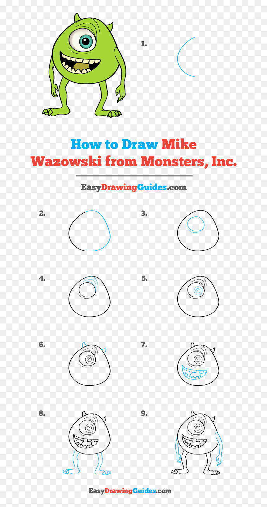 How To Draw Mike Wazowski From Monsters Inc Easy Monsters Inc Drawing Hd Png Download Vhv