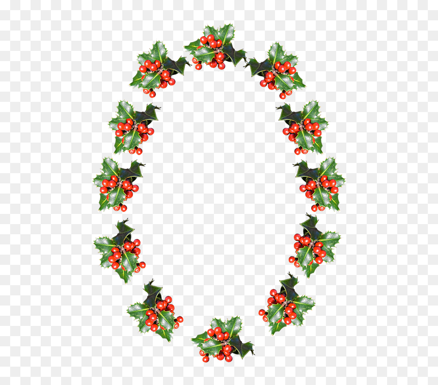 Free Clipart Christmas Holly Borders Flower Oval Border Png Transparent Png Vhv