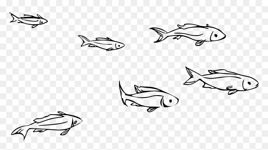 Cute Fish Silhouette Clip Art Small Fish Clipart Black And White Hd Png Download Vhv