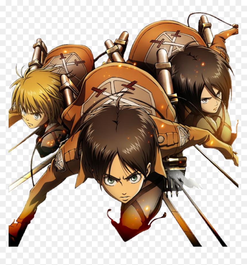 Shingekinokyojin Eren Mikasa Armin De Attack Of Titan Hd Png Download Vhv