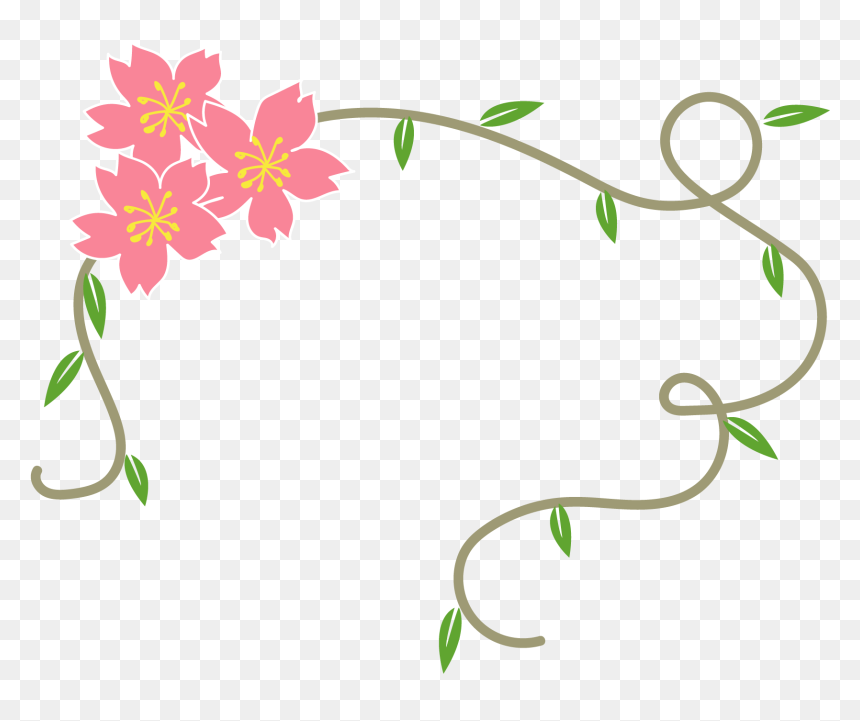 Simple Fresh Floral Decorative Border Png And Vector Border Simple Flower Designs Transparent Png Vhv