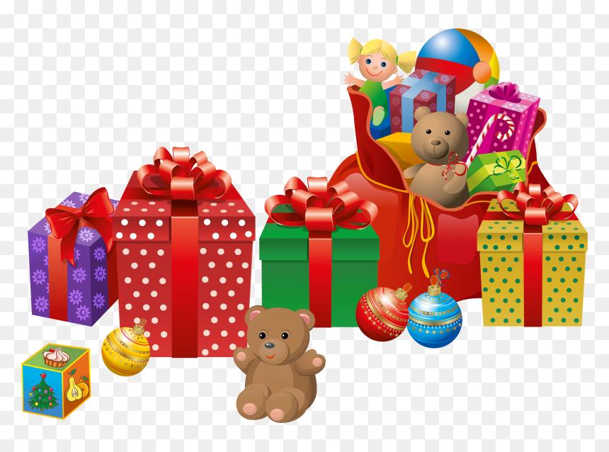 Gift Claus Transparent Presents Santa Christmas Clipart Transparent Christmas Presents Clipart Hd Png Download Vhv