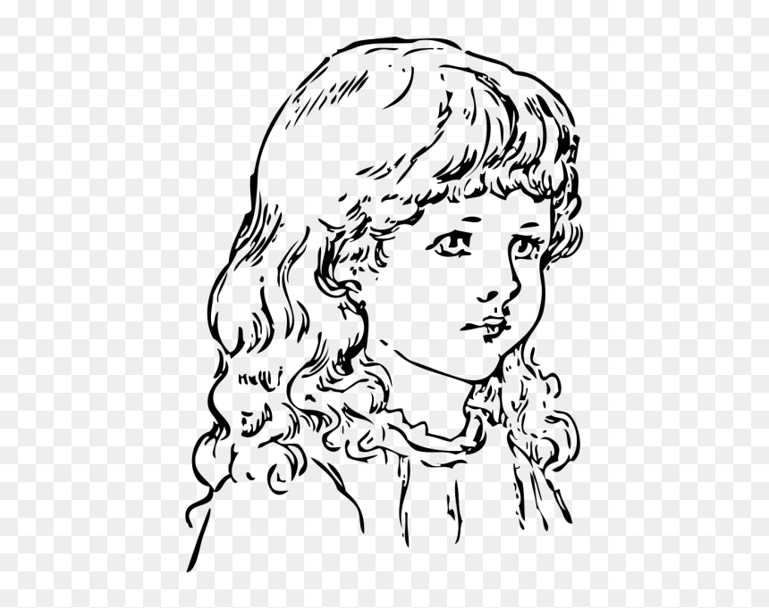 Little Girl Drawing Outline, HD Png Download - vhv
