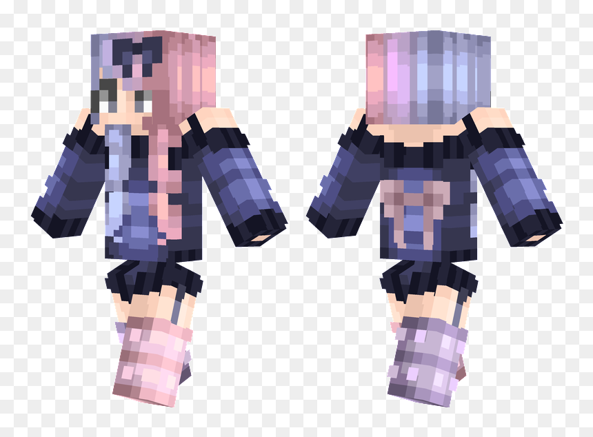 Minecraft Girl Skin Bow Png Download Minecraft Skins Penguin Template Transparent Png Vhv