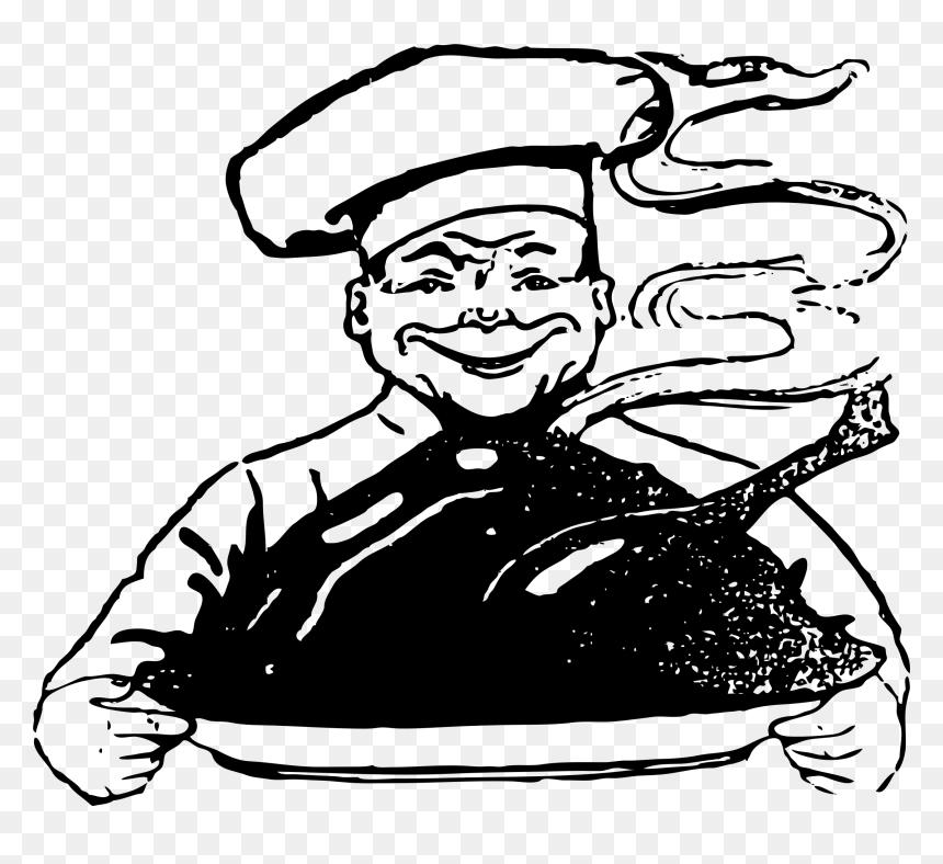 Creepy Turkey Chef Clip Arts Gambar Chef Hitam Putih Png Transparent Png Vhv