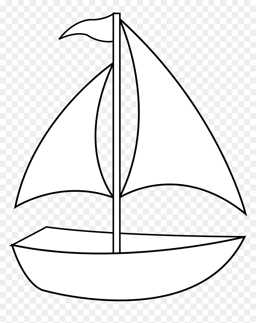 Colorable Sailboat Line Art Free Clip Painting Sail Boat Simple Drawing Hd Png Download Vhv