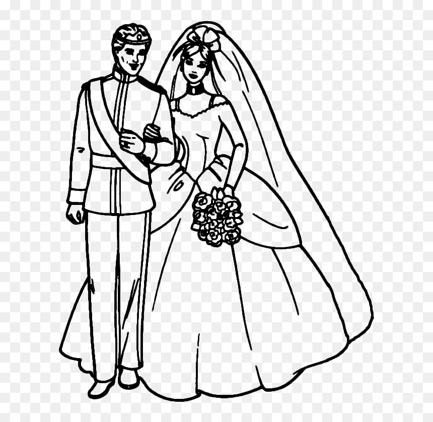 Bride And Groom Silhouettes - Wedding Colouring Sheets Bride And Groom, HD  Png Download - Vhv