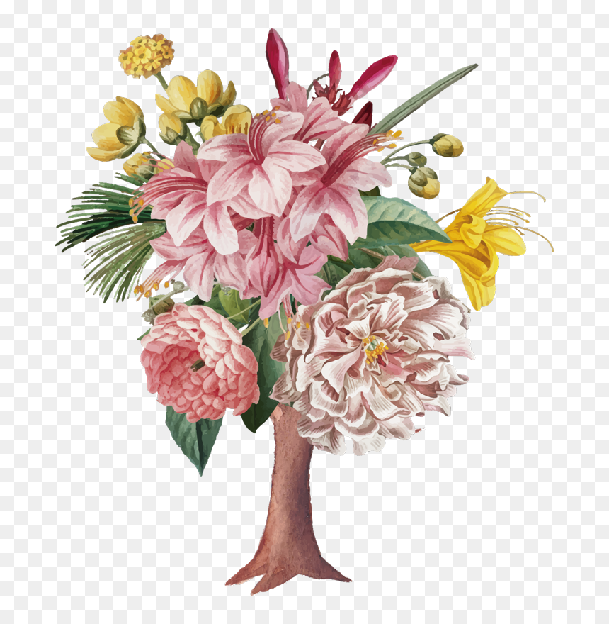 Bouquet De Fleurs Dessin Realiste Hd Png Download Vhv