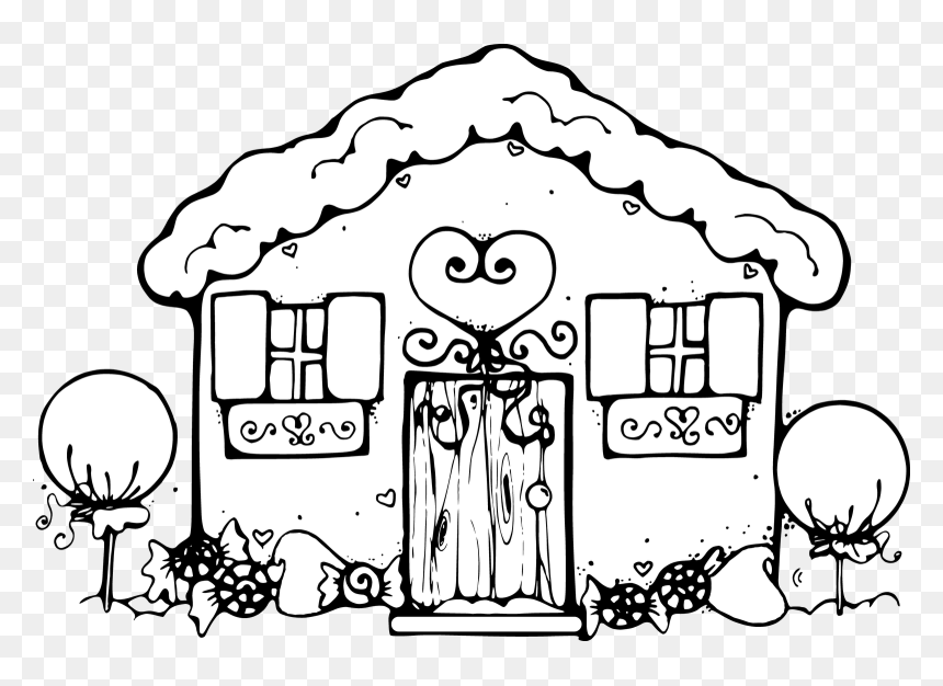 - Gingerbread House Coloring Pages For Kids Clipart - Houses To Color And  Print, HD Png Download - Vhv