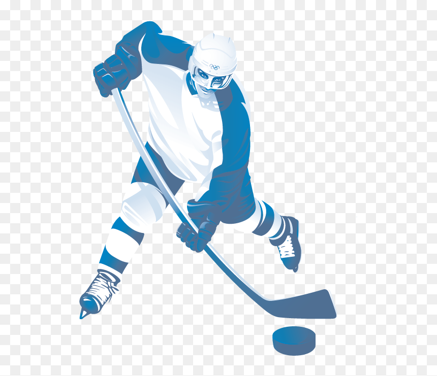 Santa claus hockey player. Winter sport for cheerful christmas.
