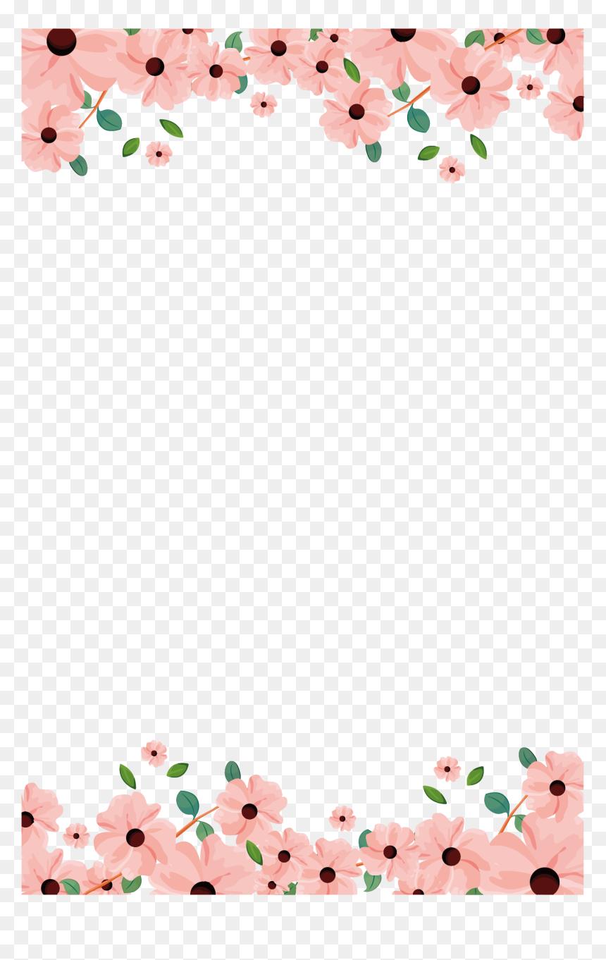 Paper Wedding Invitation Flower Painting Flower Paper Border Design Hd Png Download Vhv