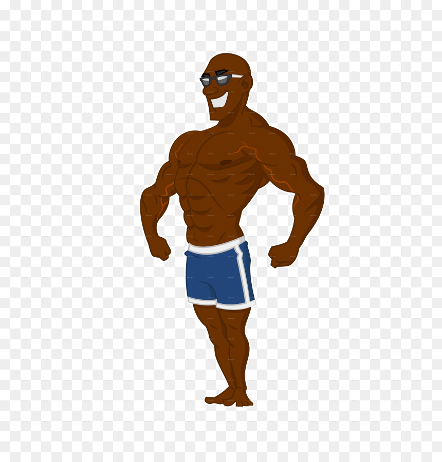 Bodybuilding Clipart Animation Cartoon Black Muscle Guy Hd Png Download Vhv