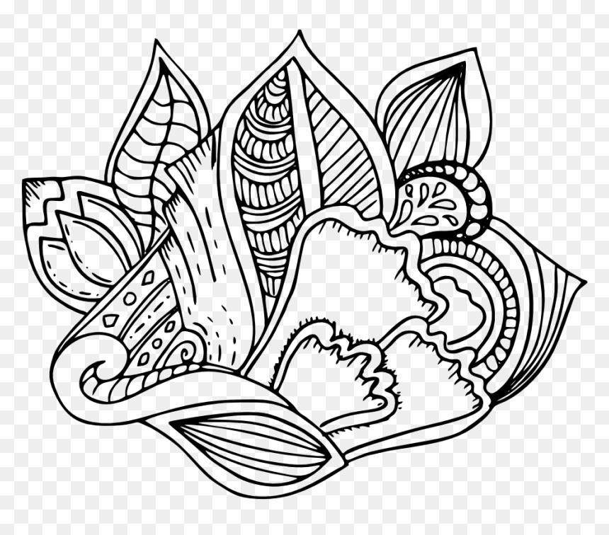 Mandala Art Free Printable Hand Drawn Nature Coloring Line Art Hd Png Download Vhv