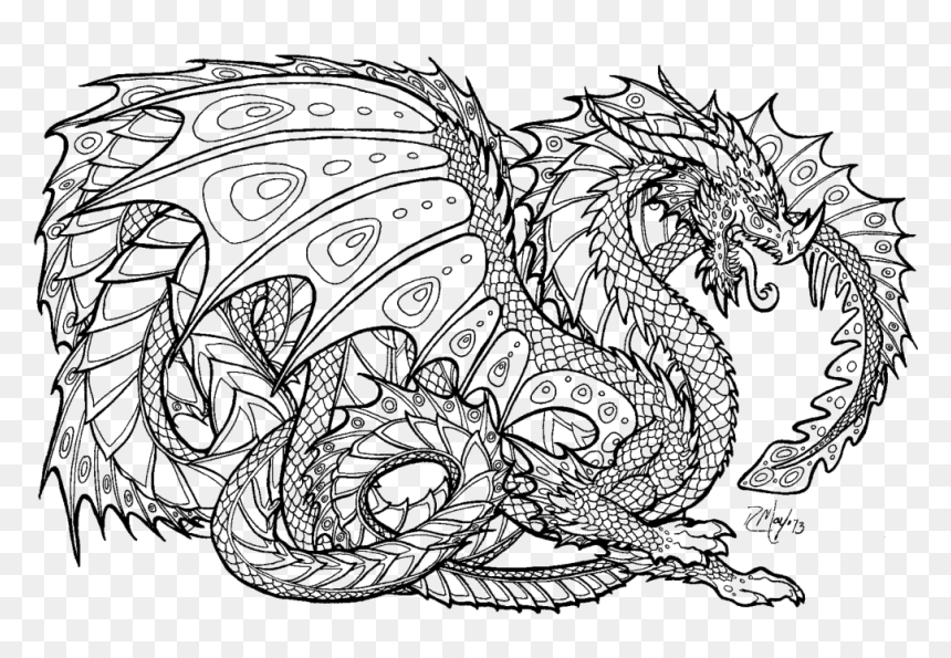 Dragon Colouring Pages Difficult Dragon Coloring Page Hd Png Download Vhv