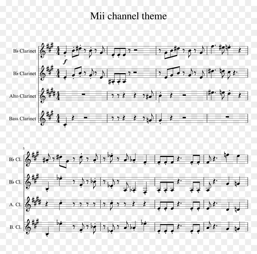 Mii Theme Song Clarinet Png Download Wii Theme Song Clarinet Transparent Png Vhv