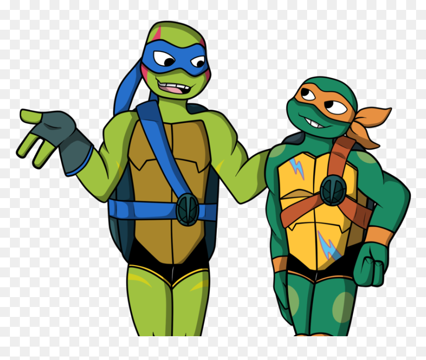 Tmnt 2018 Leo And Mikey Mikey Rise Of The Tmnt Hd Png Download