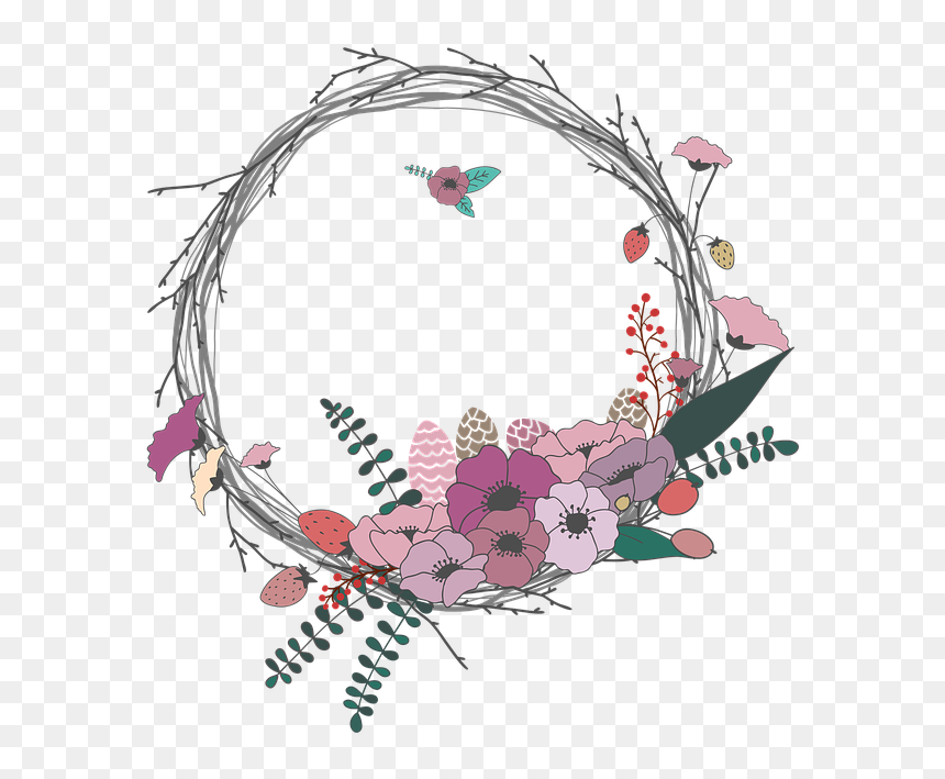 flowers twig corolla wreath lease spring border bunga lingkaran simple hd png download vhv flowers twig corolla wreath lease