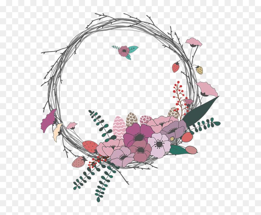 flowers twig corolla wreath lease spring border bunga lingkaran simple hd png download vhv flowers twig corolla wreath lease