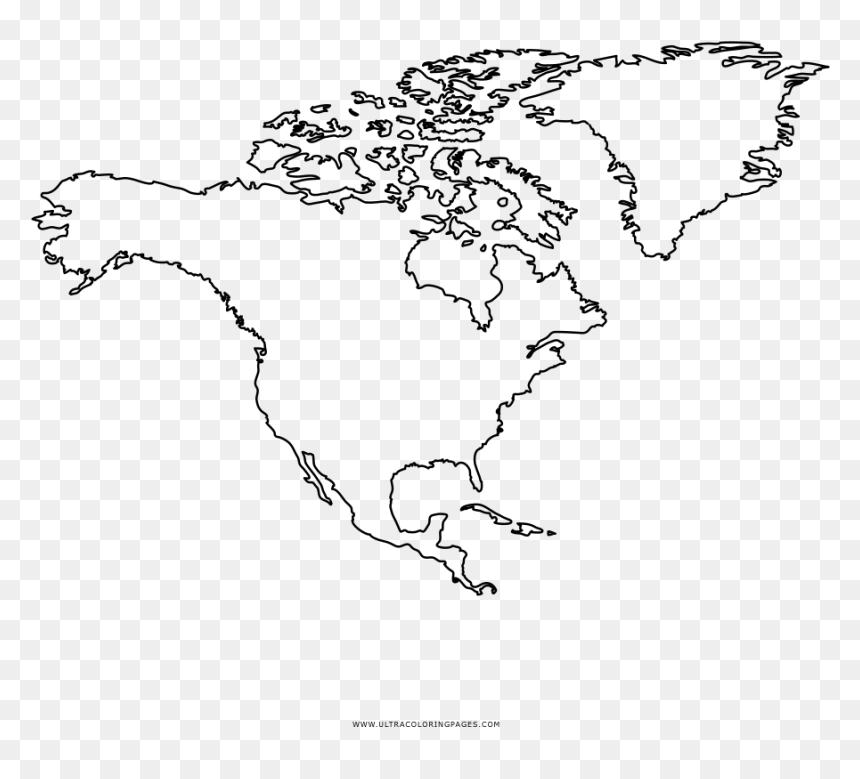 North America Coloring Page Outline Map Of Usa Canada Map Of Canada And Europe Hd Png Download Vhv