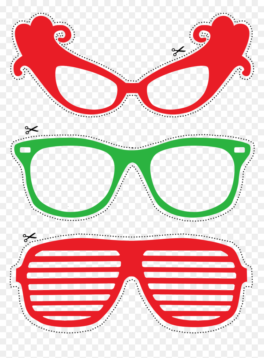 Photo Booth Props Red And Green Glasses Free Printable Shutter Shades Png Transparent Png Vhv