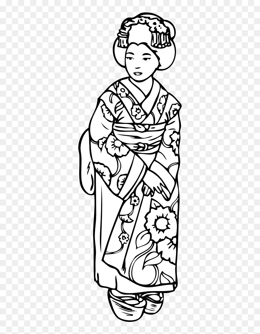 Geisha Girl Anime Svg Clip Arts Japan People Coloring Pages Hd Png Download Vhv