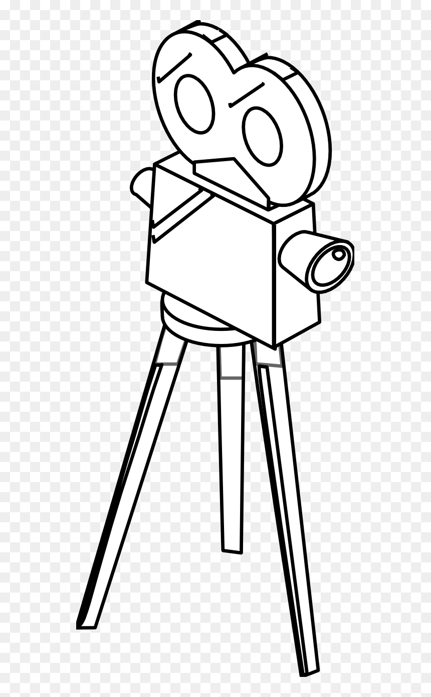 Movie Camera Black White Line Art S Coloring Book Colouring Movie Camera Coloring Pages Hd Png Download Vhv