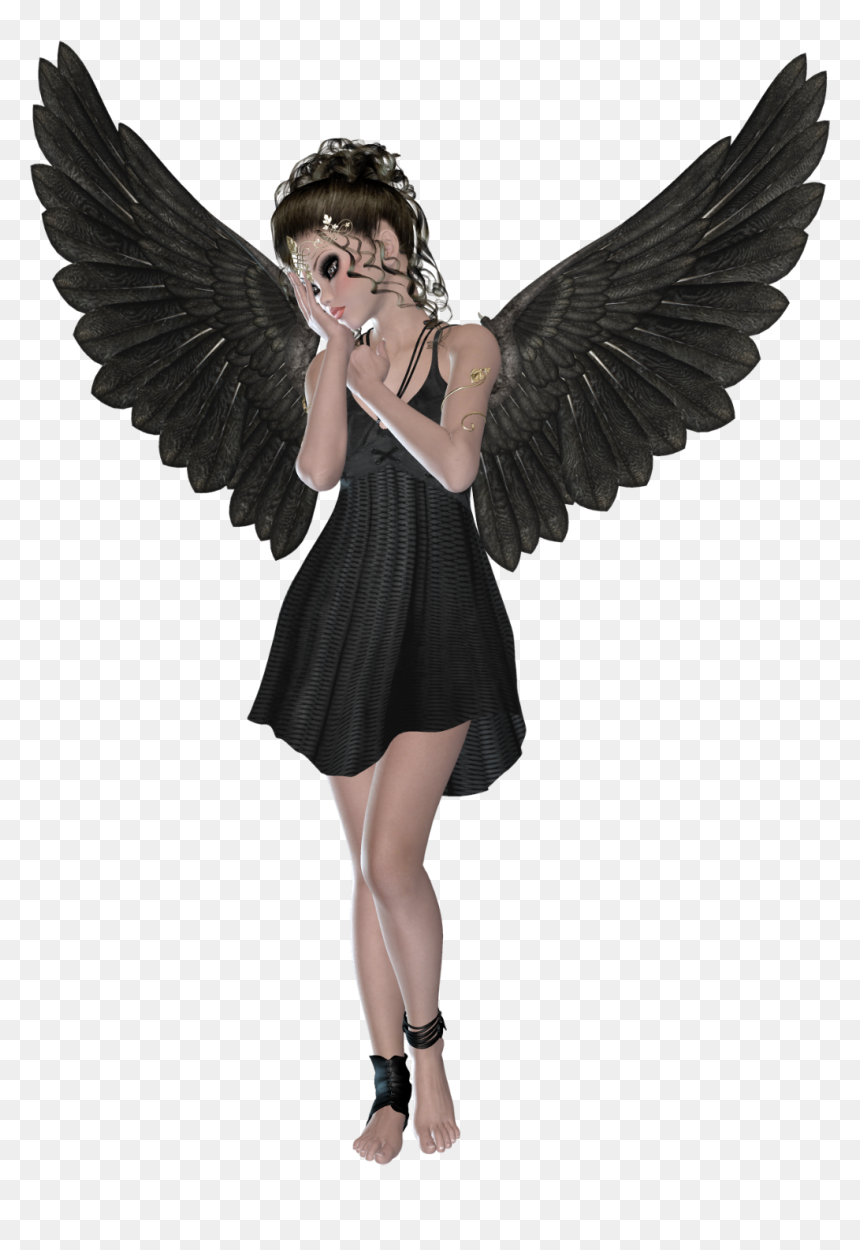 Angel Black And White Transparent Png Clipart Free Girl With Black Wings Png Download Vhv