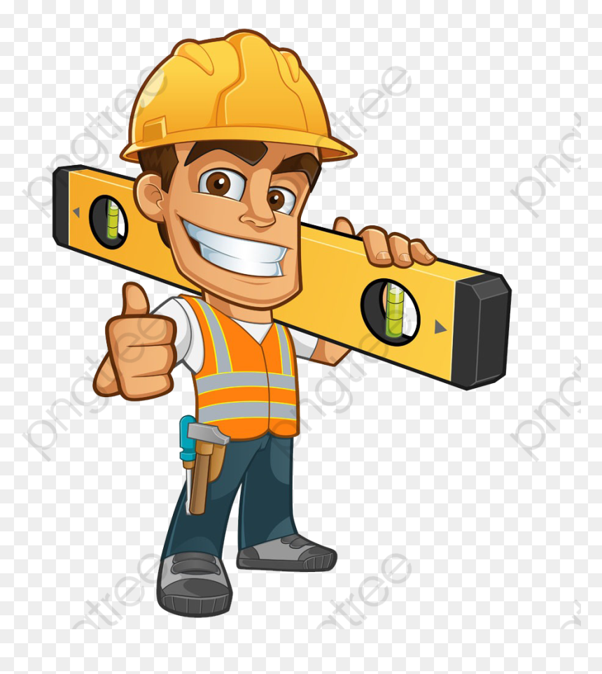 Cartoon Construction Worker Hd Png Download Vhv