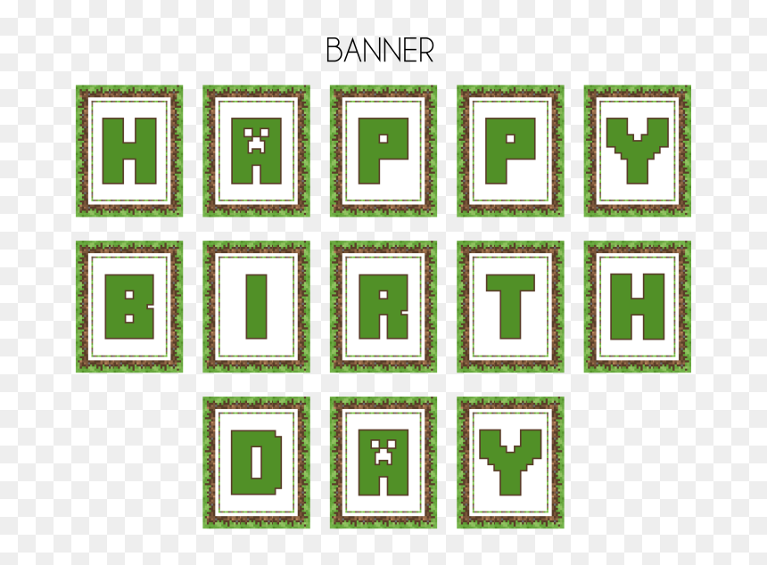 Minecraft Happy Birthday Banner Printable Free Hd Png Download Vhv