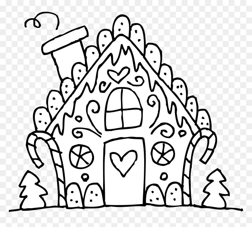 Christmas Coloring Pages Printable Gingerbread House Hd Png Download Vhv